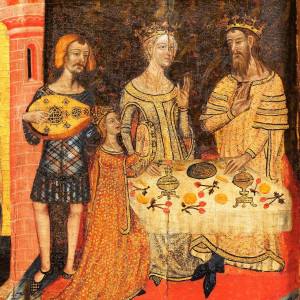4. A royal meal and feast at court. The image shows the dance of Salome, but reflecting the Catalan court of the period, with King Peter the Ceremonious, Eleanor of Sicily and the 'infanta' Eleanor of Aragon, plus a troubadour or minstrel (altarpiece of the Saints John, from Santa Coloma de Queralt, MNAC, around 1356).