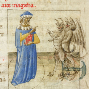 5. Zoroaster presented as the founder of the magic art, inside a circle, subjugating two demons (London, British Library, MS Yates Thompson 28, f. 51r, Florence, 1425).