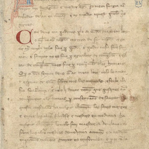 9. Foreword by Berenguer Sarriera in manuscript M of the Catalan translation of Arnald's 'Regimen of Health' (Madrid, BNE, MS 10078, f 3r).