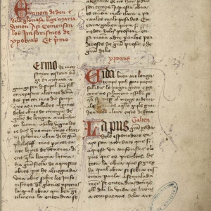 10. Manuscript of Catalan translation A of Hippocrates' 'Aphorisms', with Galen's commentary (Bordeaux, Bibliothèque municipale, MS 568, f. 1r, first half of the 15th C).