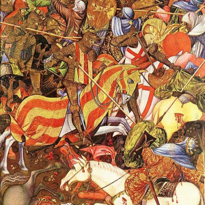 10. Horses wounded in battle. Battle of El Puig. Marçal de Sax, Altarpiece of Saint George or of the Centenar de la Ploma. London, Victoria & Albert Museum (1405).