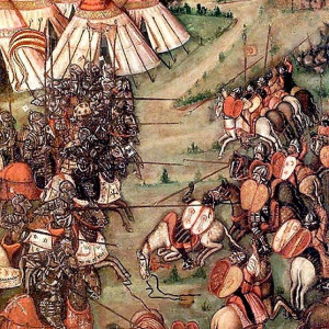 9. Cavalry forces in combat. Battle of Llutxent. Altarpiece of the Corporales in Daroca. Daroca, Museo de la Colegial de Daroca (15th C).