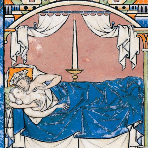 """20. Sexual intercourse is an element of the fifth of the """"non-natural things"""". King David and Bathsheba, in the 'Morgan Bible' (New York, Morgan Library, MS M.638, f. 41v, 13th C)."""