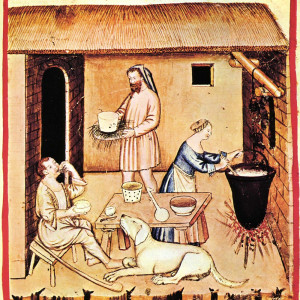 """18. Food and drink are the third of the """"non-natural things"""". Cheese-making in a manuscript of the 'Tacuinum sanitatis' (Rome, Casanatense Library, MS 4182, 14th C)."""