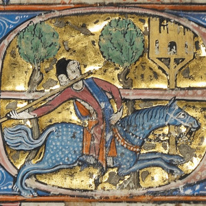 """16. Exercise is part of the second of the """"non-natural things"""". Image of the chapter """"De astiludio, es assaber, juego de bofordar"""" (throwing spears at a target raised on a post), a game played by the nobility, in MS of the Laws ('Fueros') of Aragon known as 'Vidal Mayor' (Los Angeles, J. P. Getty Museum, MS Ludwig XIV-6, f. 229r, c. 1290-1310)."""