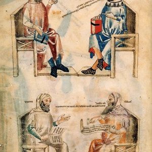 5. Depiction of Hippocrates with Ḥunayn ibn Isḥāq (above) and with Galen (below), by whom quotes are displayed, in the 'Liber de herbis' by Manfredo de Monte Imperiale (Paris, Bibliothèque nationale de France, MS Lat. 6823. f. 1v, Pisa, c. 1330-1340).