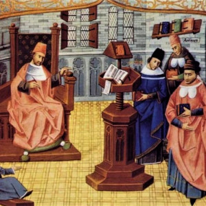 6. Hippocrates, Galen and Avicenna, principal medical authorities in university lecture halls, according to a Latin MS of 'Chirurgia magna' by Guy de Chauliac (Paris, Bibliothèque nationale de France, MS Lat. 6966, f. 4r, 1461).